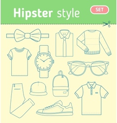 Hipster fashion look set of mens clothing vector