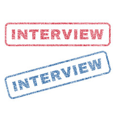 Interview textile stamps vector