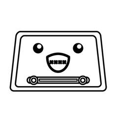 Kawaii vintage radio cartoon vector