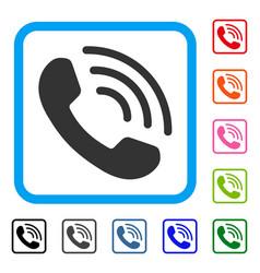 Phone call framed icon vector
