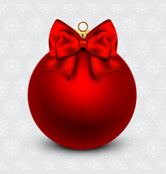 Red christmas ball with a bow on holiday vector
