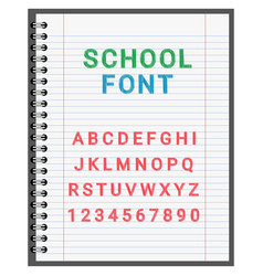 school font the alphabet in the notebook vector image
