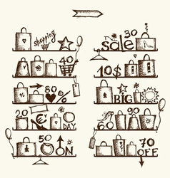 Shopping bags on shelves big sale vector image vector image