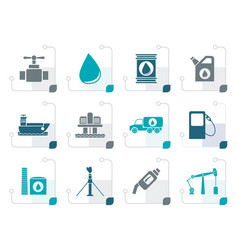Stylized oil and petrol industry objects icons vector