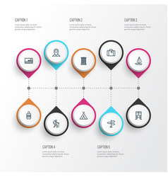 Traveling outline icons set collection of canopy vector