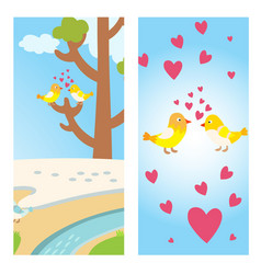 two lovely birds spring card with tree and couple vector image