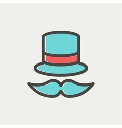 Vintage fashion hat and mustache thin line icon vector