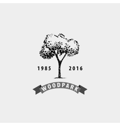 Vintage tree logo eco print hipster vector