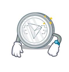 Waiting tron coin character cartoon vector