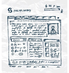 Hand drawing template of website on paper sheet vector
