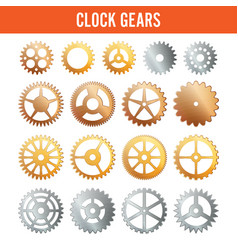 Clock gears metal icons isolated on white vector