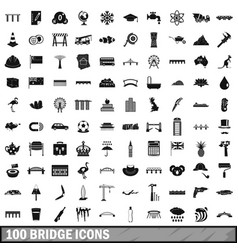 100 bridge icons set simple style vector image