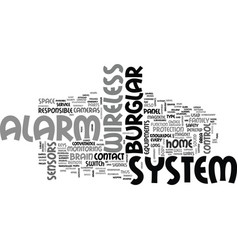 Wireless burglar alarm system text word cloud vector