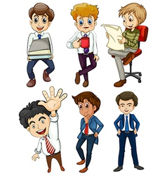 Six businessmen vector image