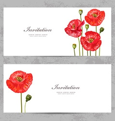 Invitation cards with a red poppy for your design vector