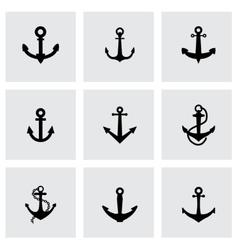 Black anchor icon set vector