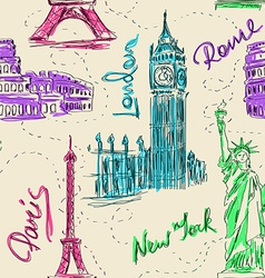 Seamless pattern of architectural landmarks vector