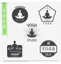 Yoga studio fitness and meditation class set of vector