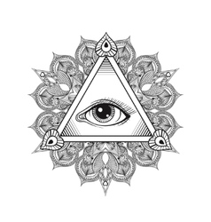 All seeing eye pyramid symbol tattoo vector