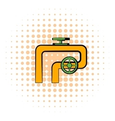 Pipeline with valve and handwheel icon vector