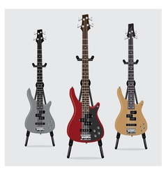 Electric bass guitar set vector