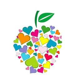 Apple shape made of hearts vector