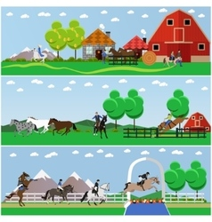 Banners of horse riding flat design vector