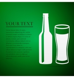 Bottle and glass of beer flat icon on green vector