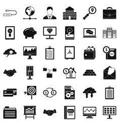 Business protection icons set simple style vector