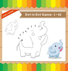 Cartoon Elephant Dot to dot educational game for vector image
