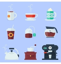 Coffee tea cup and devices flat icons set vector image