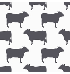 Cow silhouette seamless pattern beef meat vector