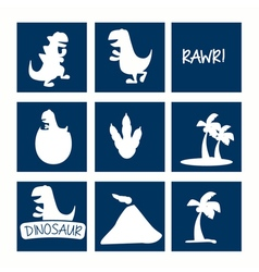 Dinosaur icon set vector