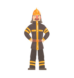 Firefighter character in safety helmet and vector