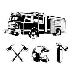 Firefighters elements for labels or logos vector