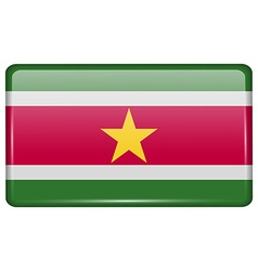 Flags Suridame in the form of a magnet on vector image