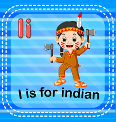 Flashcard letter i is for indian vector