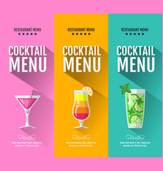 Flat cocktail menu design set of banners vector