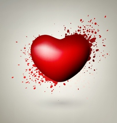 Heart With Red Splashes vector image vector image