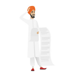 Hindu accountant holding a long bill vector