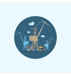 Icon with colored cargo cranes and containers vector
