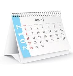 January 2017 desk calendar - vector