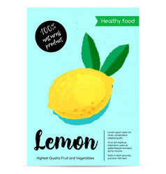Modern healthy food poster with lemon vector