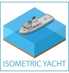 Motor yacht flat rowboat isometric vector