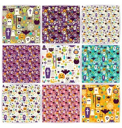 Nine Flat Seamless Halloween Party Patterns vector image vector image