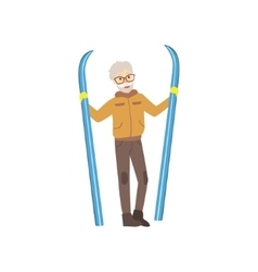 Old Man Holding Skis Winter Sports vector image vector image