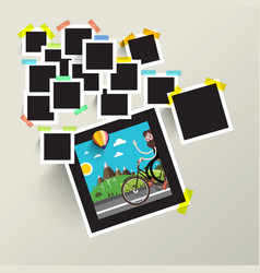 Photo frames with man on bike picture vector