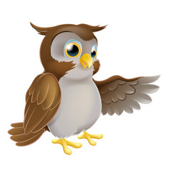 pointing cartoon owl vector image vector image
