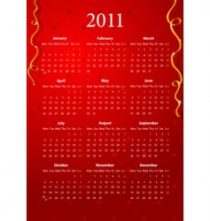 red calendar 2011 vector image vector image