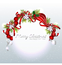 Red silver christmas ornament background vector